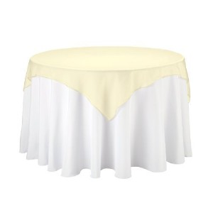 LinenTablecloth 60-Inch Square Organza Overlay Lemon by LinenTablecloth [並行輸入品]