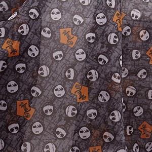 Nightmare Before Christmas Jack Head, 100% Synthetic Sheer, Grey Black, 59/60 Wide, Digital Fabric...