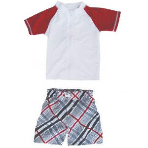 Surfer Dude - UV Sun Protective Rash Guard Swimsuit Set by SwimZip Swimwear, Red, 6-12 Months by...