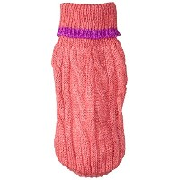 Fashion Pet Classic Cable Dog Sweater, Pink, XXX-Small by Fashion Pet