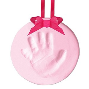 Pearhead Easy-to-Create Babyprints Handprint or Footprint Keepsake Ornament with Ribbon, Pink by...