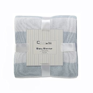 Cream Bebe Striped 100% Cotton Knit Baby Blanket, Blue/White by Cream Bebe