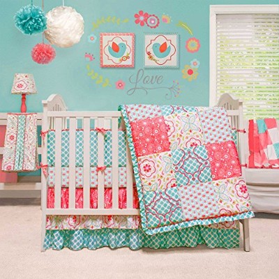 Mila Coral and Blue Floral Patchwork 4 Piece Baby Girl Crib Bedding by Peanut Shell by The Peanut...