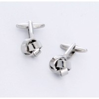 DashingシルバーノットCufflinks with Personalizedケース