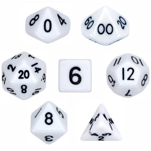 7Die Polyhedral Dice Set–ソリッドホワイトwithベルベットポーチby Wiz Dice