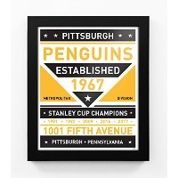 Pittsburgh Penguinsデュアルトーンモダンチーム印刷Framed