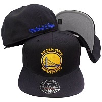 Golden State WarriorsソリッドブラックMitchell & Ness High Crown Fitted Hat /キャップ ブラック
