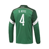 Adidas D. REYES #4 Mexico Home Jersey World Cup 2014 (Long Sleeve)/サッカーユニフォーム メキシコ ホーム用 長袖...
