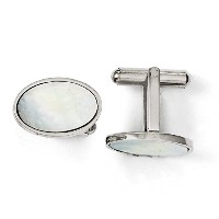 Royローズジュエリー彫刻ステンレススチールMother of Pearl Polished Cuff Links
