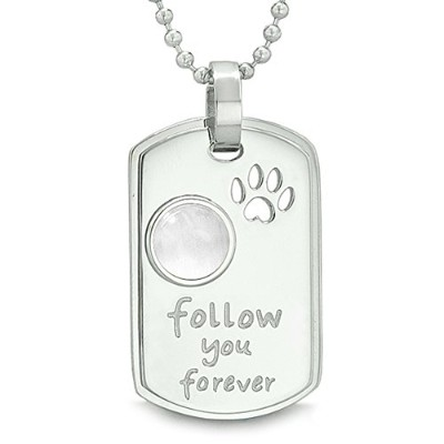 Follow You Forever Wolf Paw Amuletドットタグ正ホワイト模造Cats Eyeペンダント18インチネックレス