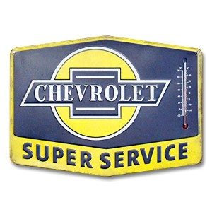 Open Road Brands Chevrolet Thermometer Sign - Super Chevy Service Tin Sign [並行輸入品]