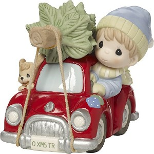Precious Moments It 's The年の最も素晴らしい時間のBoy in Red Car With Dog Bisque Porcelain Figurine 171031