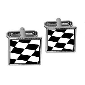 Checkered Flag – Racing Square Cufflink Set – シルバー