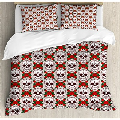 Skulls Decorations布団カバーセットby Ambesonne、Artistic Skull Illustration in Rosesクラシック花柄フレームデザイン...