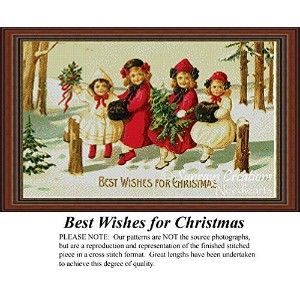 Best Wishes for Christmas, Vintage Counted Cross Stitch Pattern (Pattern Only, You Provide the...