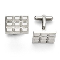 Royローズジュエリー彫刻ステンレススチール溝付きand Polished Cuff Links