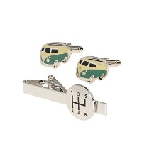 メンズ3個入りCufflinks and Tie Bar Gift Set Gear Shift with Vintage Van