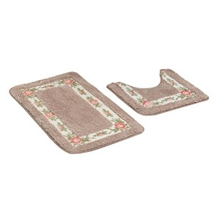 Zhhlinyuan 良質 Two pieces Pastoral Style バスルーム Absorbent Carpet Home Non-slip Floor Mat Contour Rug...