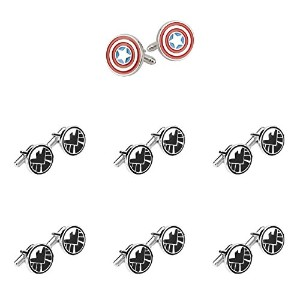 Super Hero Groom 's 7パックキャプテンアメリカ& S。H。I。E。L Cuff Links withギフトボックスbyスーパーヒーロー