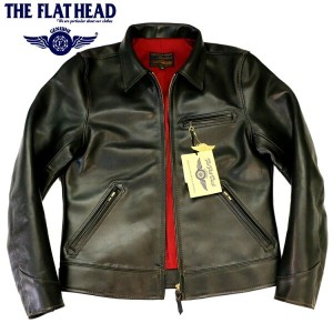 THE FLAT HEAD(ザ・フラットヘッド) ホースハイド/馬革 ライダースジャケット 黒/ブラックHORSE HIDE RIDERS JKT SRJ-07A【メンズ/茶芯革/レザーライダース...