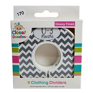 Closet Doodles C170 Gray Chevron Gender Neutral Baby Closet Dividers Set of 6 Fits 1.25inch Rod by...