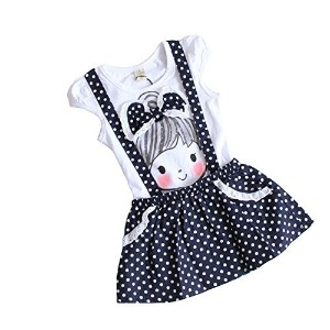 DFXIU Baby Girl's Ballet Casual Short Sleeve Dance Skirt One-piece Dress White 4-5 Years Old by...