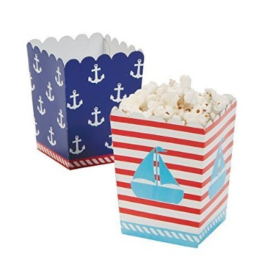 Nautical Sailor Mini Popcorn Boxes - 24 ct Model: by Party Supplies