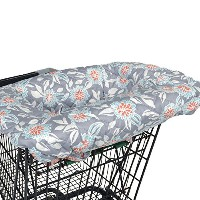 Grey Dahlia Shopping Cart and Highchair Cover - 100% Cotton Floral Design by Balboa Baby