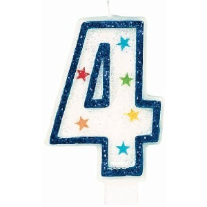 Amscan AMI 179904 Star Glitter Birthday Candle No.4, White/Blue [並行輸入品]