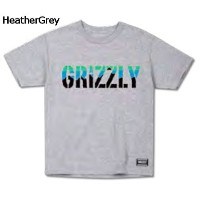 【GRIZZLY】グリズリー2017春夏 Stamp Dawn Cubs Tee キッズ 半袖Tシャツ TEE ティーシャツ ボーイズ スケートボード HeatherGrey L
