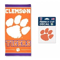 NCAA Clemson Tigers 30 X 60インチタオルと4 x 4インチPerfect Cut Decal set