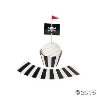 Pirate Party Cupcake Wrappers with Picks – Makes 50 Cupcakes