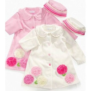 Bonnie Jean Kids Set, Little Girls Rosette and Ruffles Coat and Hat, Ivory, Size: 6 by Bonnie Jean