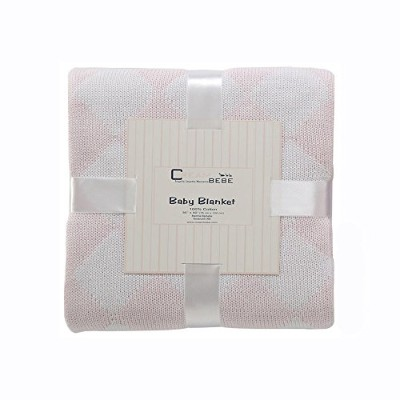 Cream Bebe Argyle 100% Cotton Knit Baby Blanket, Pink/White by Cream Bebe