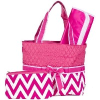 Ever Moda Pink Chevron Quilted Diaper Bag with Change Pad by Ever Moda