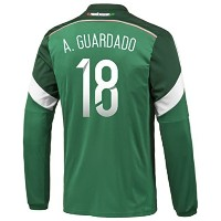 Adidas A. GUARDADO #18 Mexico Home Jersey World Cup 2014 (Long Sleeve)/サッカーユニフォーム メキシコ ホーム用 長袖...