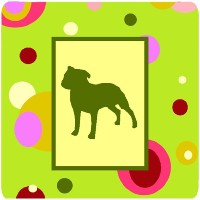 "Caroline 's Treasures ck1060fc Staffie Foam Coasters ( Set of 4 )、3.5 "" H x 3.5 "" W ,マルチカラー"