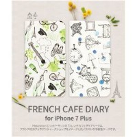 その他 Happymori iPhone7 Plus French Cafe Diary ブルー ds-1941725