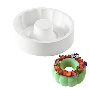 New Arrival White Silicone Non-stick Round Paradise Cake Decorating Tools for Baking Brownie...