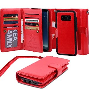 Galaxy S8 Plus Detachable Case, AICOO Magnetic 2 in 1 Separable Removable 9 Cards Holder Photo Slot Cash Purse Wallet Folio Flip Cover With Strap For Samsung Galaxy S8 Plus 6.2 inch, Red