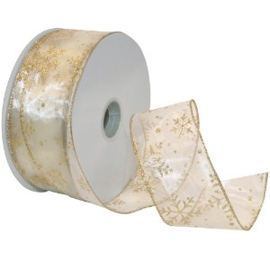 Morex Ribbon Snowflake Wired Sheer Glitter Ribbon, 2-1/2-Inch by 50-Yard Spool, Ivory/Gold by Morex...