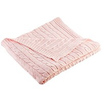 Mud Pie Knit Blanket, Pink Cable by Mud Pie