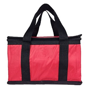 ZXKE Pure Color Insulated Bag Zipper Picnic Lunch Box (Red) by ZXKE