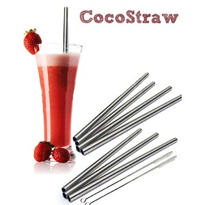 4ステンレススチールWide Smoothie Straws – CocoStraw Large Straight Frozen Drink Straw – 4パック+クリーニングブラシ Set...