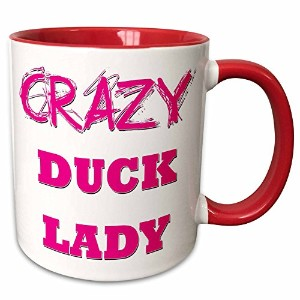 3droseブロンドDesigns Crazy親指ポインティングBack Lady – Crazy Duck Lady – マグカップ 11-oz Two-Tone Red Mug mug_175024_5