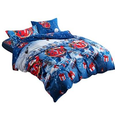 Zhhlaixing 枕カバー 掛け布団カバー Santa Claus Sleigh Father Christmas 寝具カバー Set Quilt Duvet Cover with...