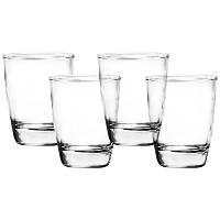 Clear Heavy Base Whiskey Drinking Glasses, 9.5 Ounce, Set of 4 Double Old Fashioned Liquor Glass...