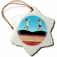 3drose Boehmデジタルペイント鳥 – Children Playing on Monkey Bars – Ornaments 3 inch Snowflake Porcelain...