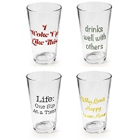 Circleware Pint Drinking Glasses with Assortedことわざ、4のセット、16オンス、クリア