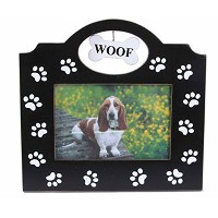 """LargeブラックPaw Prints All Over画像フレームwith Woof ~ Holds 4"""" x 6""""画像"""